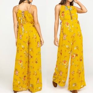 New Free People Georgia Yellow Floral Jumpsuit S